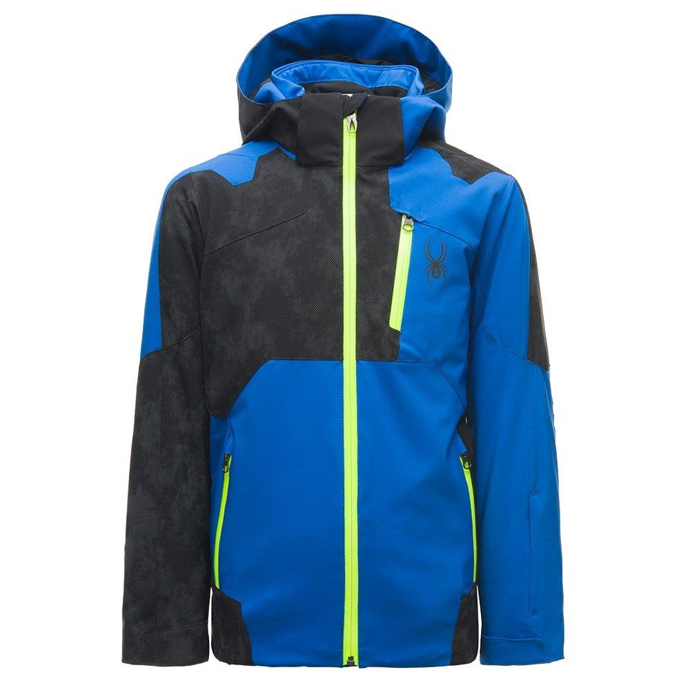 Spyder Speed Insulated Ski Jacket (Boys') - Turkish Sea/Cloudy Refective Distress/Bryte Yellow