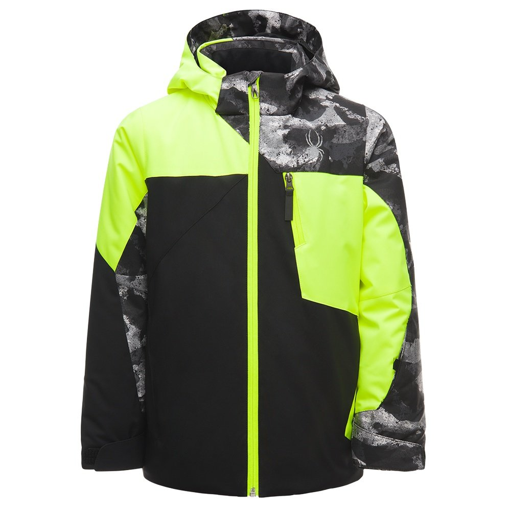 Spyder Ambush Insulated Ski Jacket (Boys') - Black/Bryte Yellow/Camo Distress