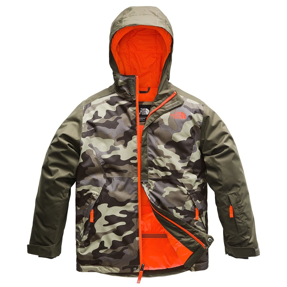 The North Face Brayden Insulated Ski Jacket (Boys') - New Taupe Green Camo Print/Green/Power Orange