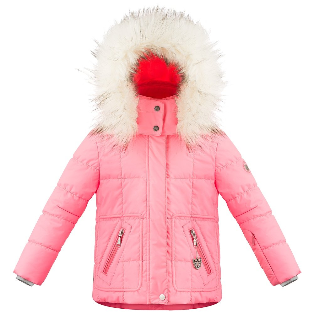 Poivre Blanc Funline Insulated Ski Jacket with Faux Fur (Little Girls') - Punch Pink