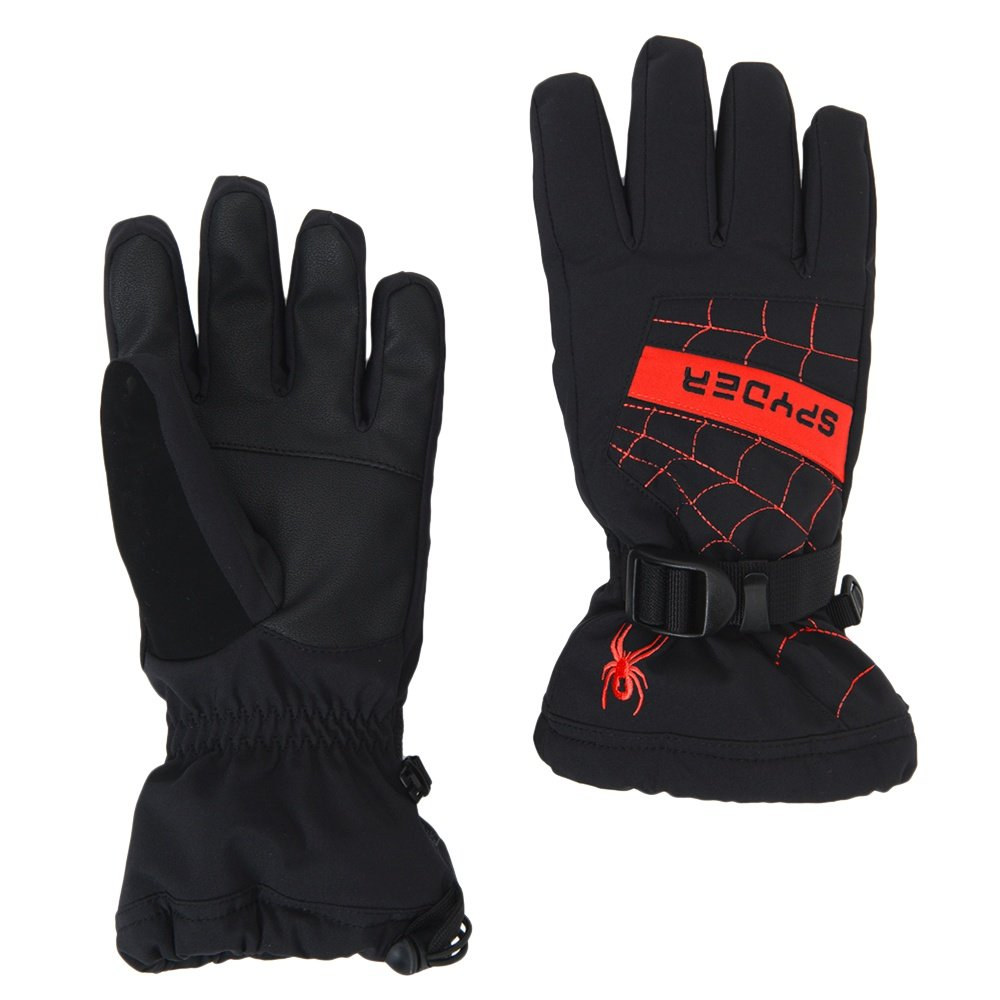 Spyder Overweb Ski Glove (Boys') - Black/Red