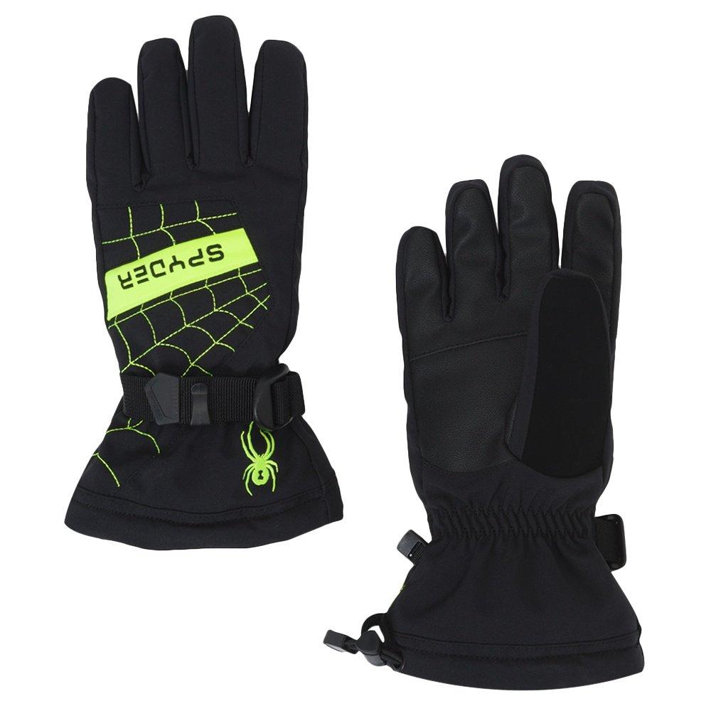 Spyder Overweb Ski Glove (Boys') - Black/Bryte Yellow
