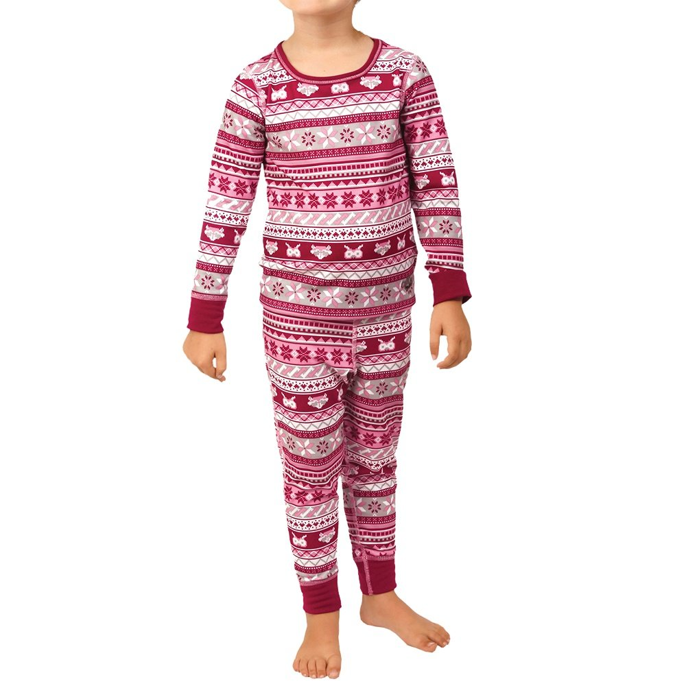 Hot Chillys Print Baselayer Set (Little Boys') - Critters/Cranberry