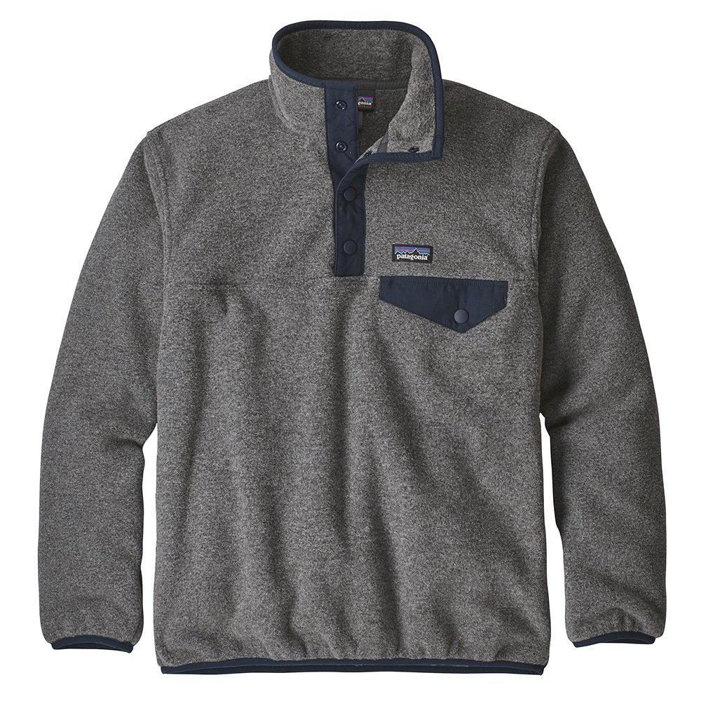 Patagonia Lightweight Synchilla Snap-T Pullover Fleece (Boys') - Nickel/Navy Blue