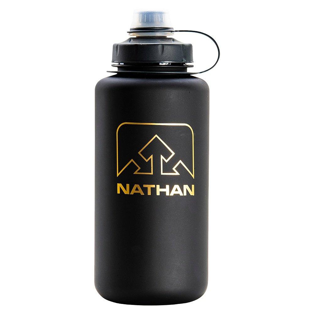 Nathan Big Shot 34oz Water Bottle - Black/Gold Frosted