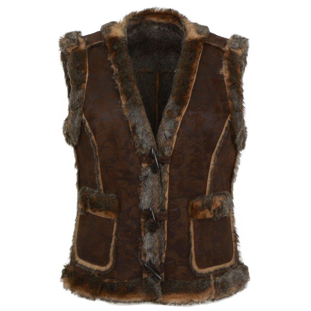 Scully Faux Fur Trim Vest (Women's) - Espresso