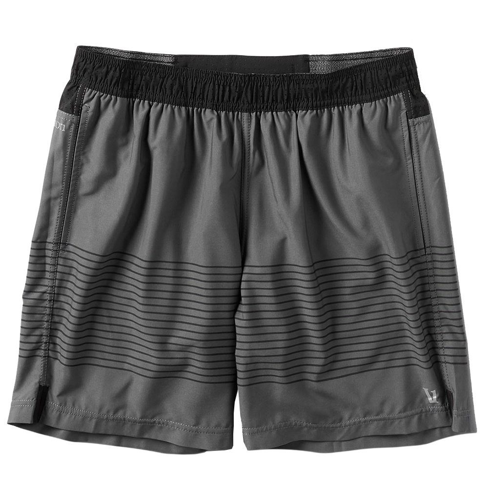 Vuori Rush Running Short (Men's) - Charcoal Black Stripe Block