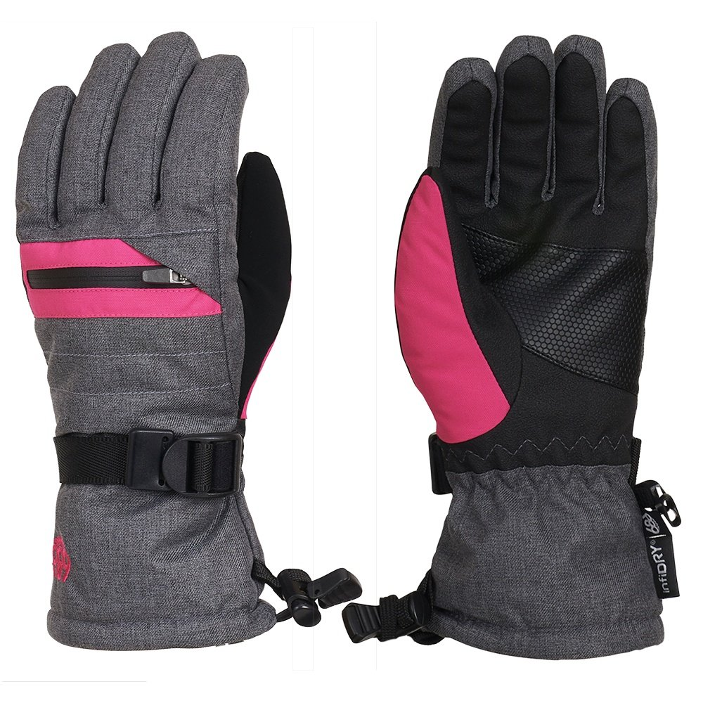 686 Unisex Heat Insulated Glove (Kids') - Grey Melange/Lilac Rose