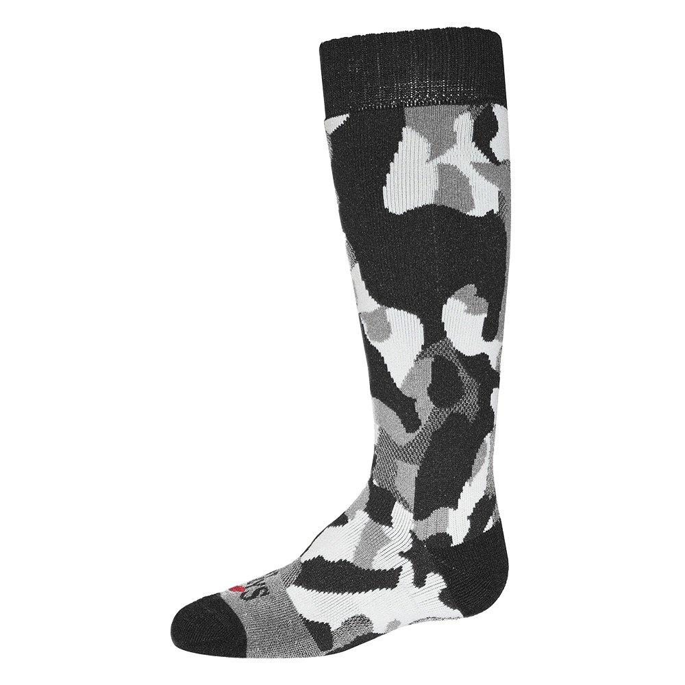Hot Chillys Tex Camo Mid Volume Ski Sock (Kids') - Textured Camo/Black