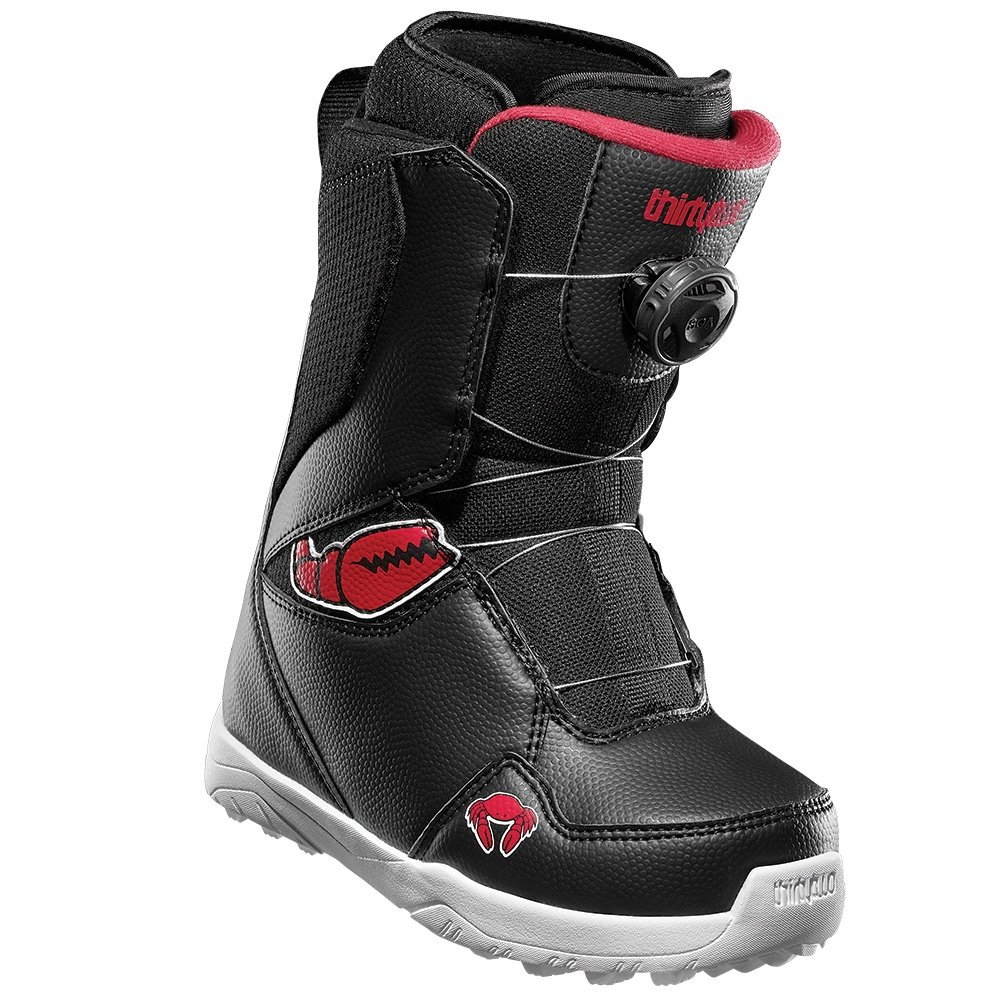 ThirtyTwo Youth Lashed Boa Crab Grab Snowboard Boot (Kids') - Black/Red/White