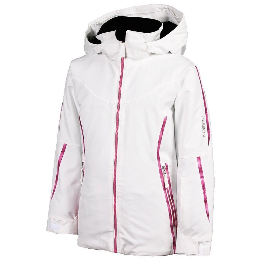 Karbon Skye Insulated Ski Jacket (Girls') - Arctic White/Hot Pink Check/Hot Pink