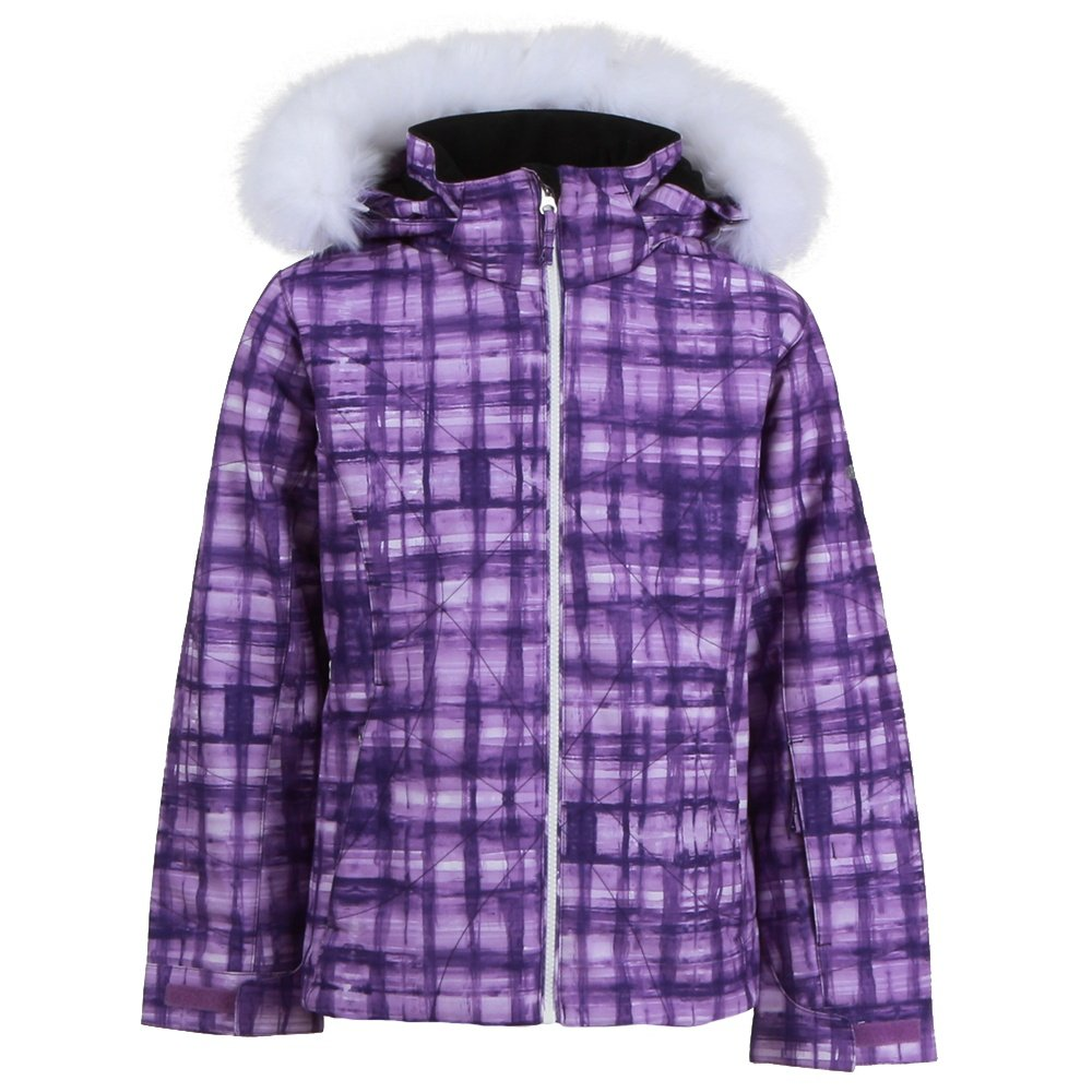 Karbon Celeste Insulated Ski Jacket with Faux Fur (Girls') - Heliotrope Check/Arctic White