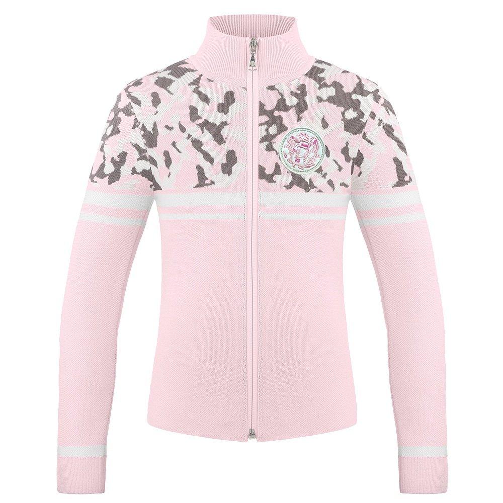 Poivre Blanc Camo Knit Full Zip Sweater (Girls') - Angel Pink/Camo