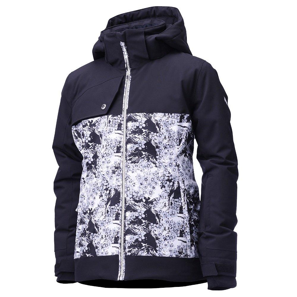Descente Khloe Insulated Ski Jacket (Girls') - Black/Black Sakura Blossom Print