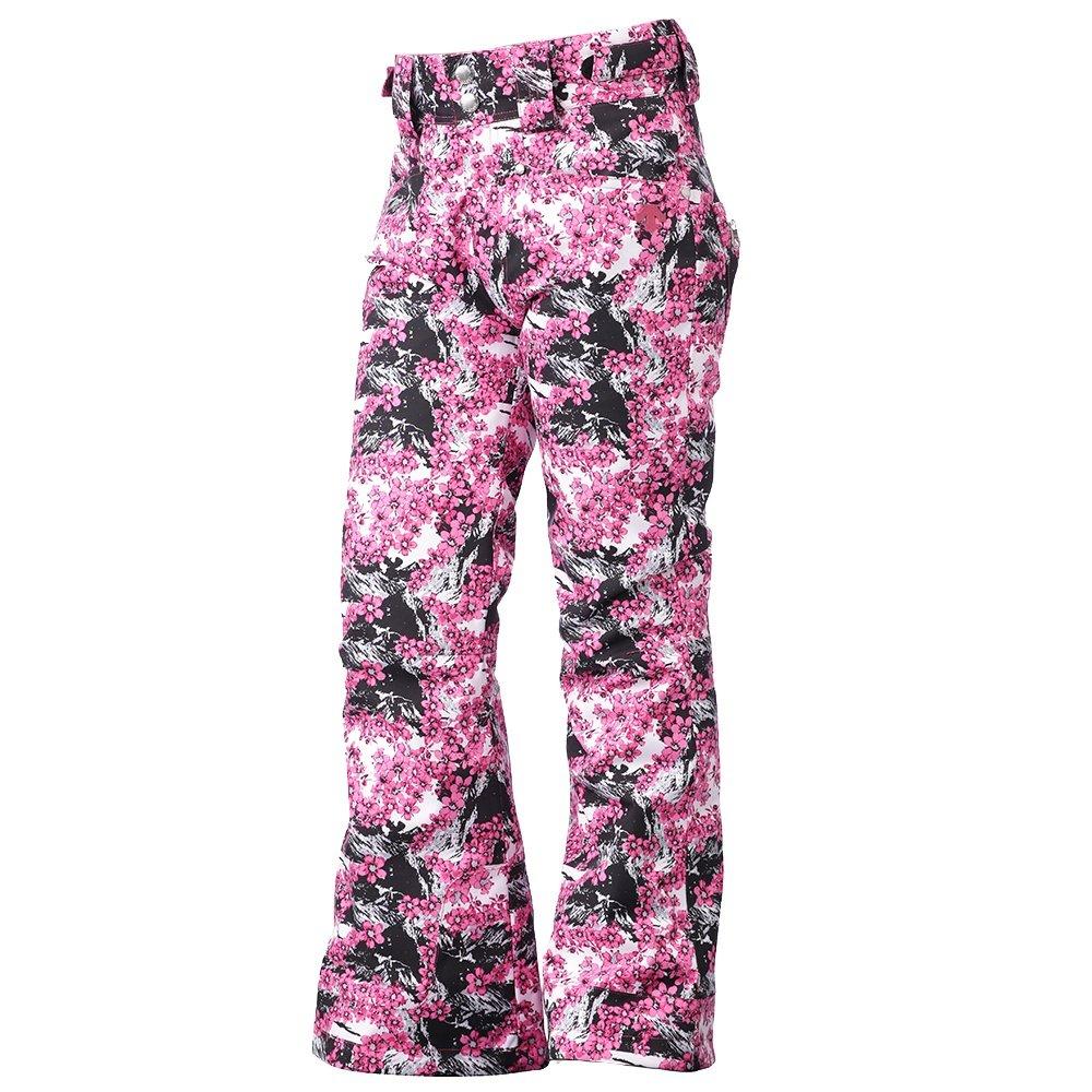 Descente Selene Insulated Ski Pant (Girls') - Black/Pink Sakura Blossom Print