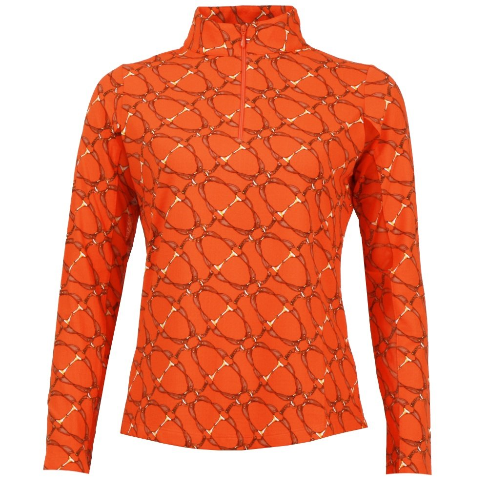 Ibkul Bitty Print Long Sleeve Zip Polo (Women's) - Orange