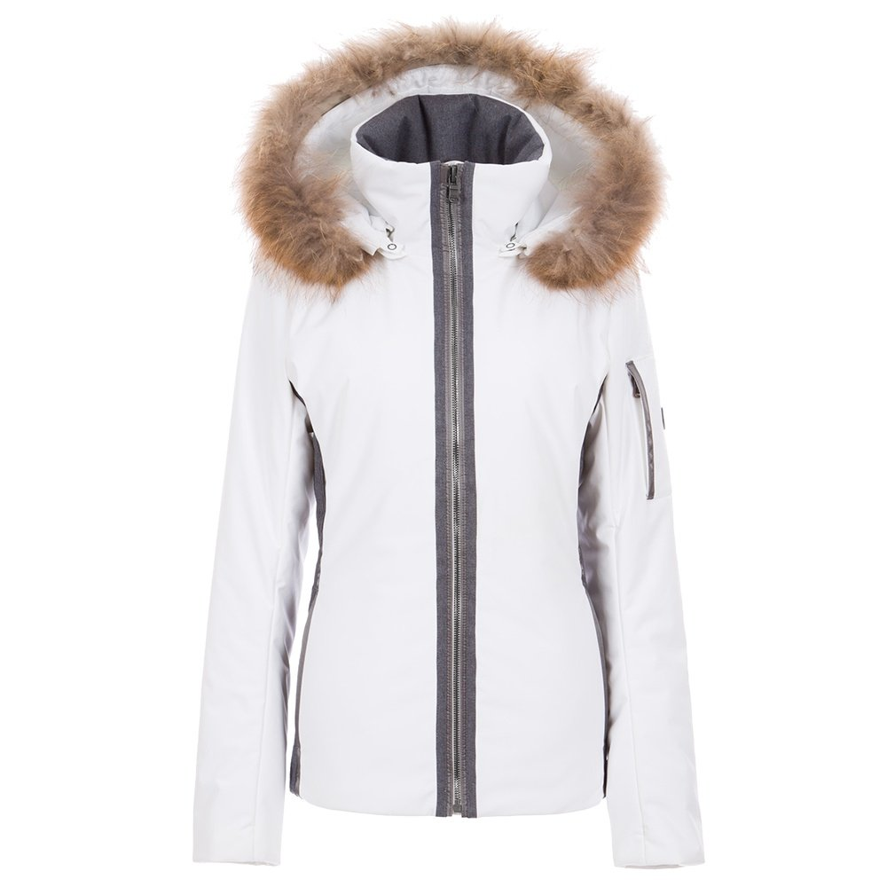 Fera Danielle Insulated Ski Parka with Real Fur (Women's) - White Cloud/Charcoal Flannel