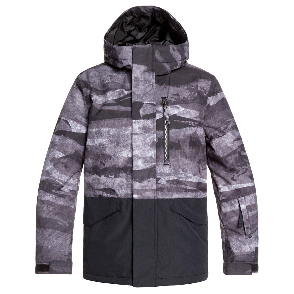 Quiksilver Mission Block Insulation Snowboard Jacket (Boys') - Black Matte Painting