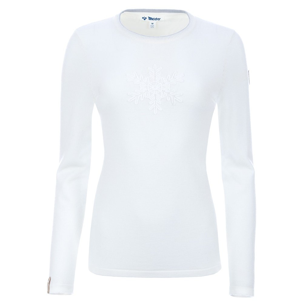 Meister Noel Snowflake Crewneck Sweater (Women's) - Winter White/Pearl Gray