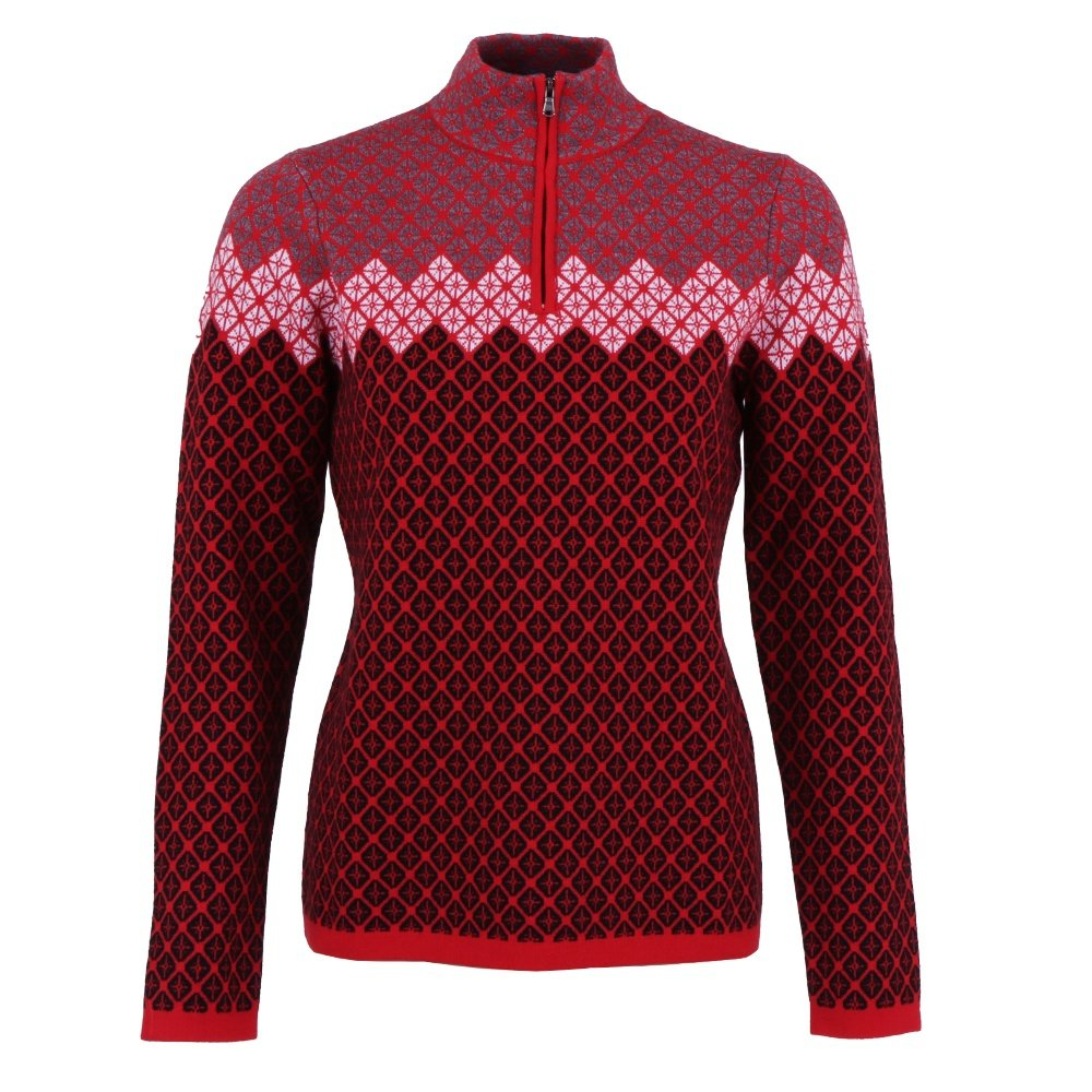 Meister Penny Jacquard 1/4-Zip Sweater (Women's) - Signal Red/Heather Gray