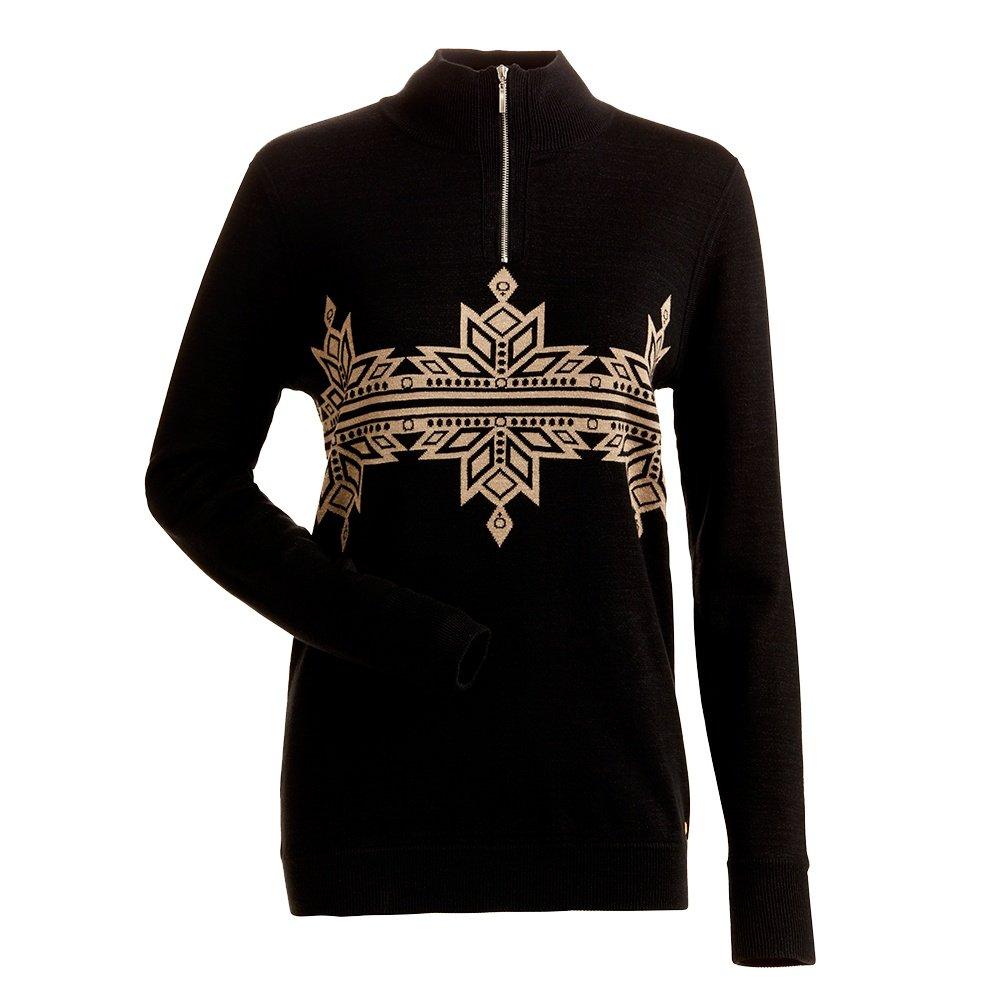 Nils Snowflake 1/4-Zip Sweater (Women's) - Black/Champagne Gold