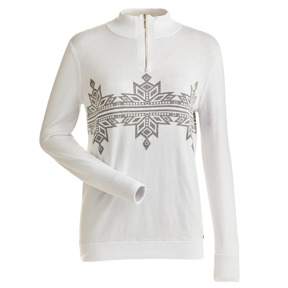 Nils Snowflake 1/4-Zip Sweater (Women's) - White/Steel Grey Metallic