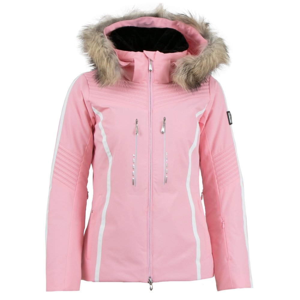 Descente Layla Insulated Ski Jacket with Real Fur (Women's) - Blush Pink/Super White