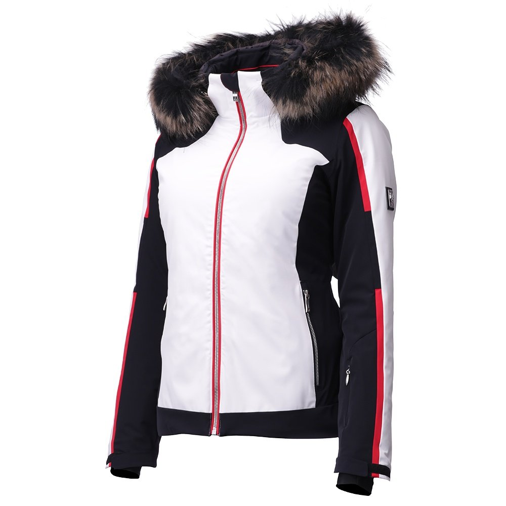 Descente Niya Insulated Ski Jacket with Real Fur (Women's) - Super White/Black/Electric Red