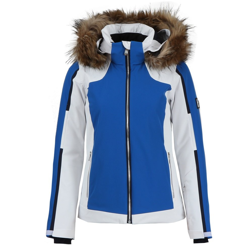 Descente Niya Insulated Ski Jacket with Faux Fur (Women's) - Victory Blue/Super White/Dark Night