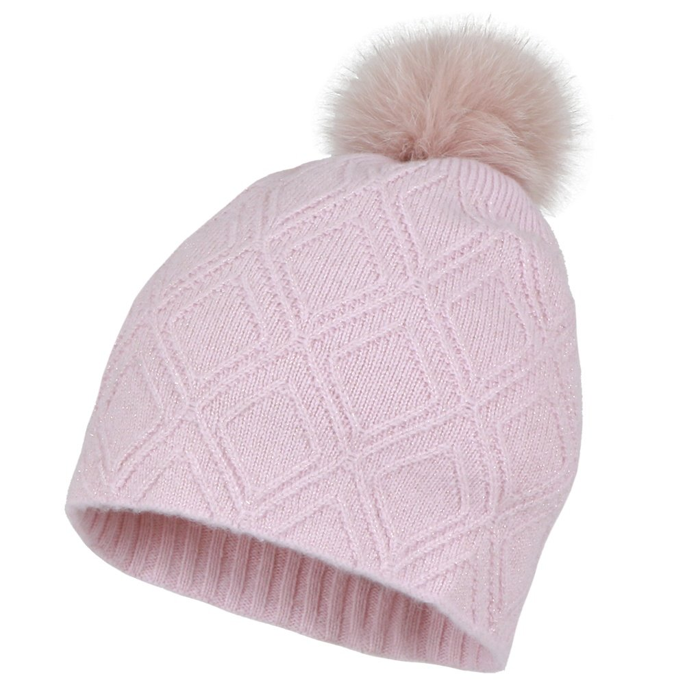 Peter Glenn Diamond Knit Hat with Pom (Women's) - Dusty Pink