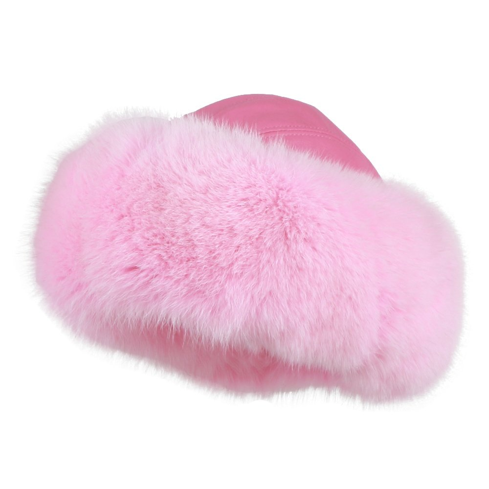 MITCHIES MATCHING L LEATHER HAT W/RF TRIM - Soft Pink/Soft Pink Fox