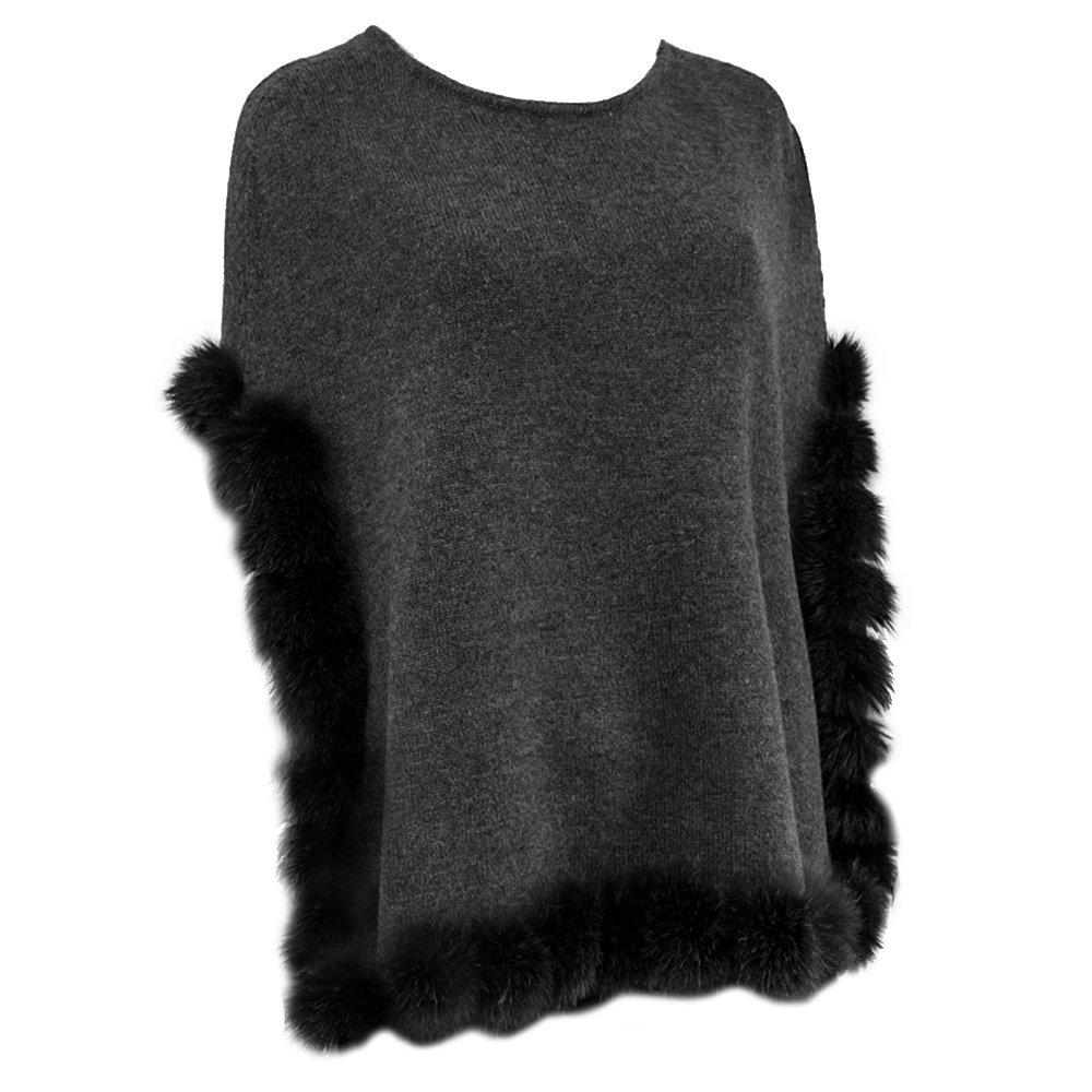 Peter Glenn Chic Fox Fur Pom Cape (Women's) - Charcoal/Grey