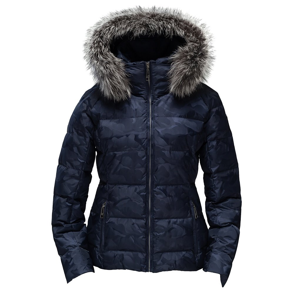 Skea Eve Down Ski Jacket with Real Fur (Women's) - Navy Camo
