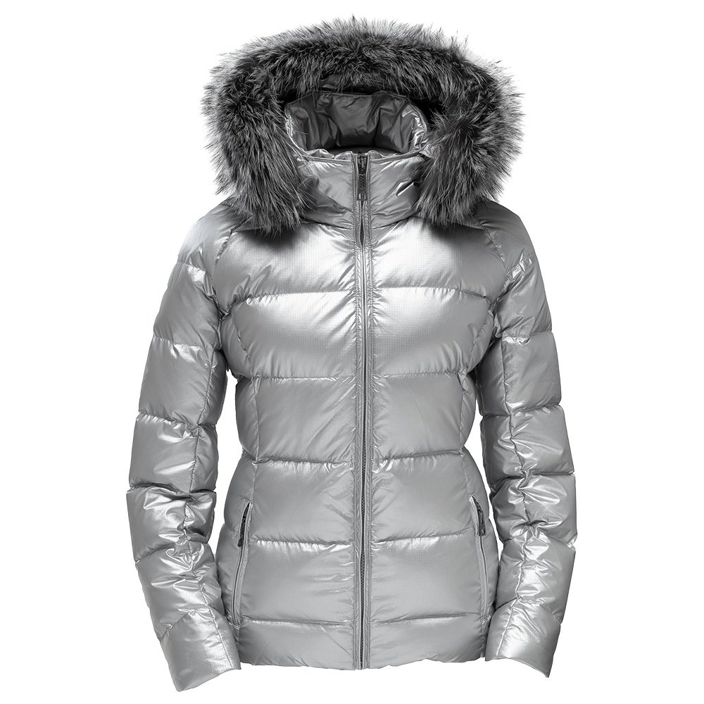 Skea Eve Down Ski Jacket with Real Fur (Women's) - Silver Ripstop
