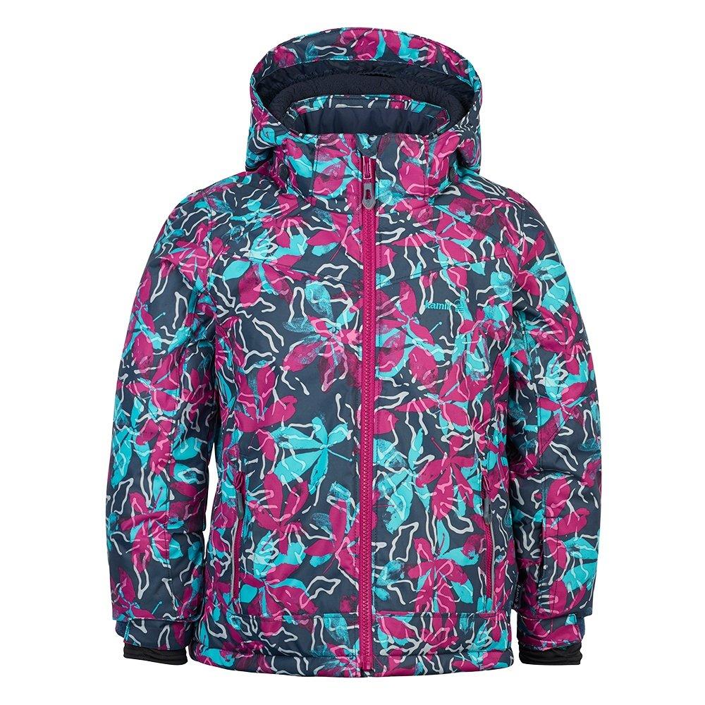 Kamik Tessie-Posies Insulated Ski Jacket (Girls') - Charcoal/Berry
