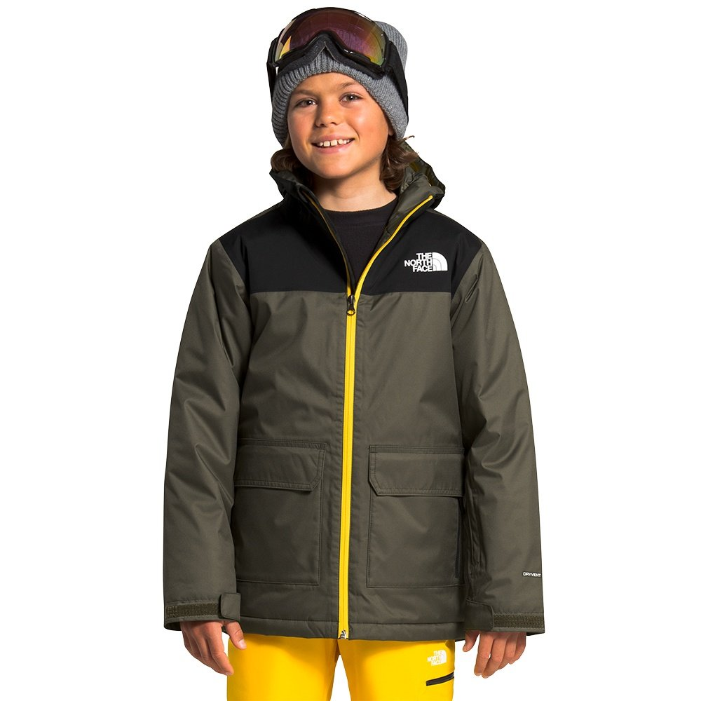 The North Face Freedom Insulated Ski Jacket (Boys') - New Taupe Green/Lightning Yellow