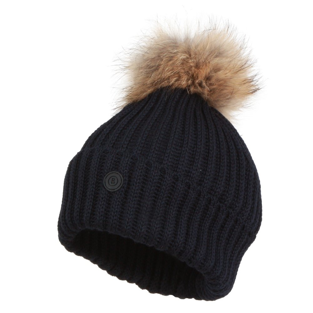 Bogner Rania Hat with Real Fur Pom (Women's) - Navy