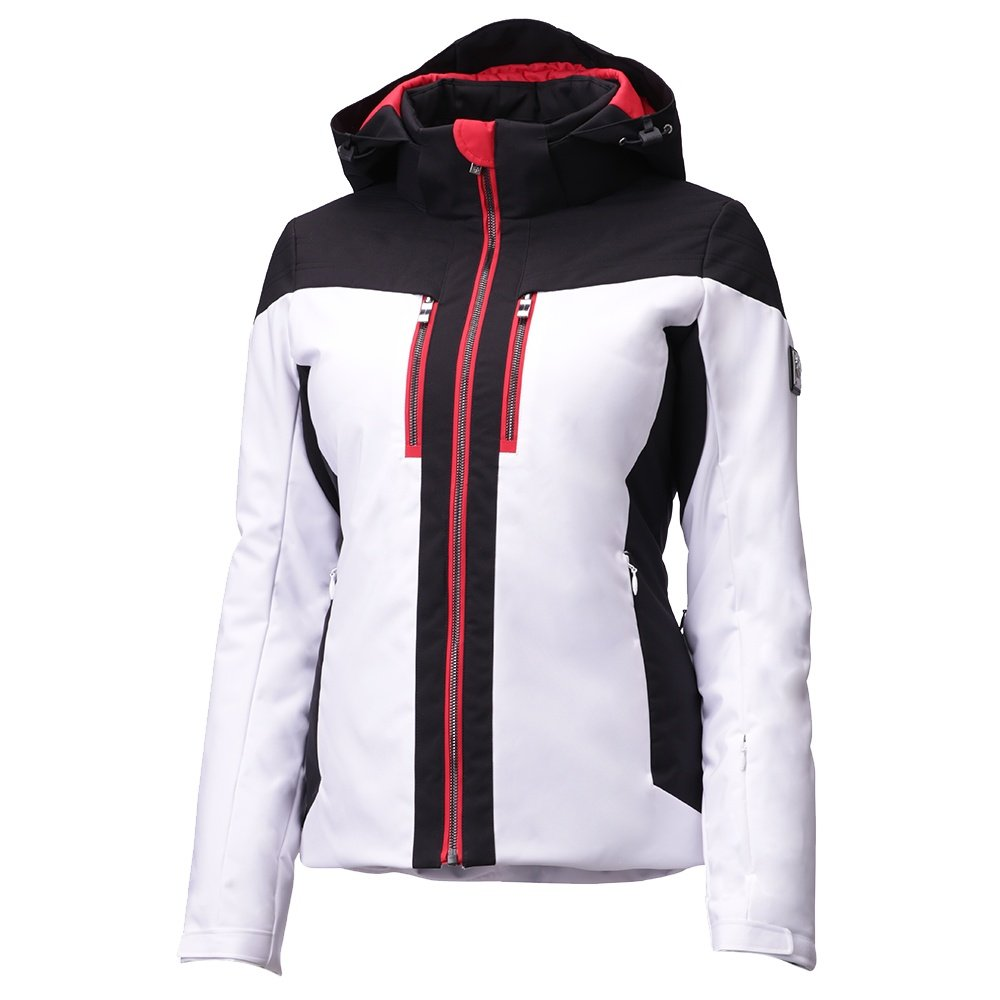 Descente Ivy Down Ski Jacket (Women's) - Super White/Black/Electric Red