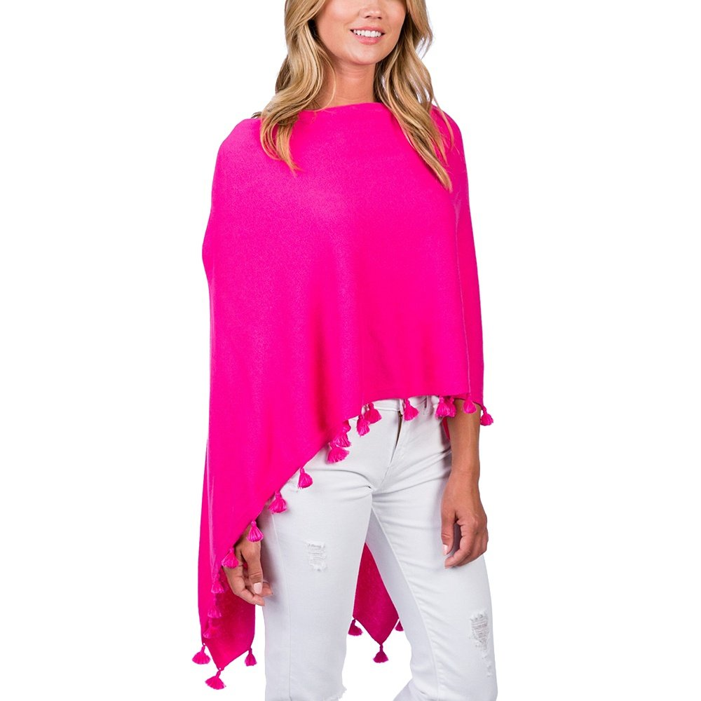 Caroline Grace Solid Tassel Trim Topper Sweater (Women's) - Malibu Pink