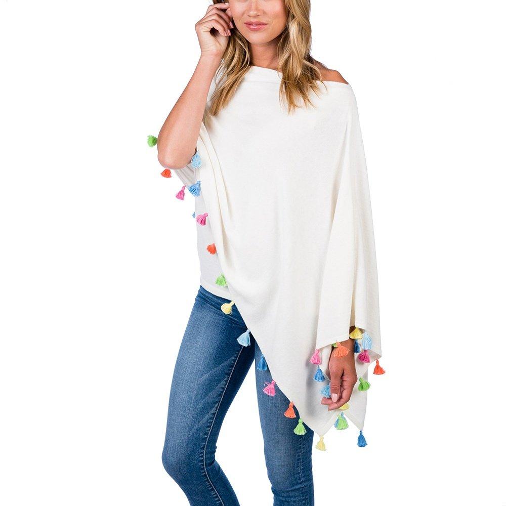 Caroline Grace Festive Tassel Trim Topper Sweater (Women's) - White