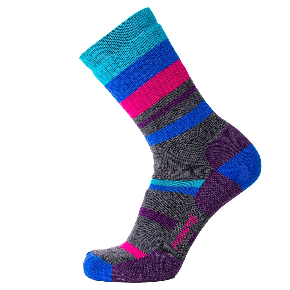 Point6 Hiking Mixed Stripe Medium Crew Sock (Adults') - Imperial