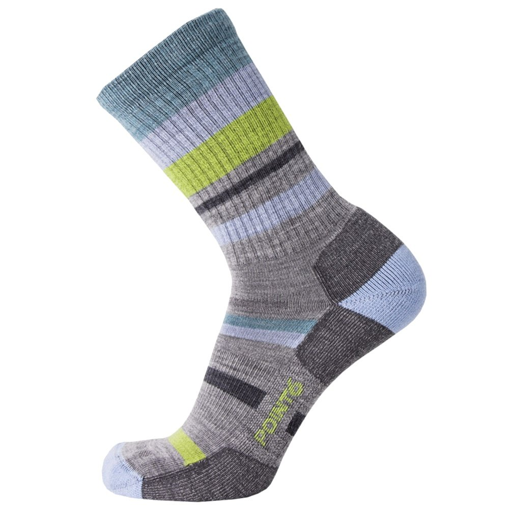 Point6 Hiking Mixed Stripe Crew Sock (Adults') - Stone Grey