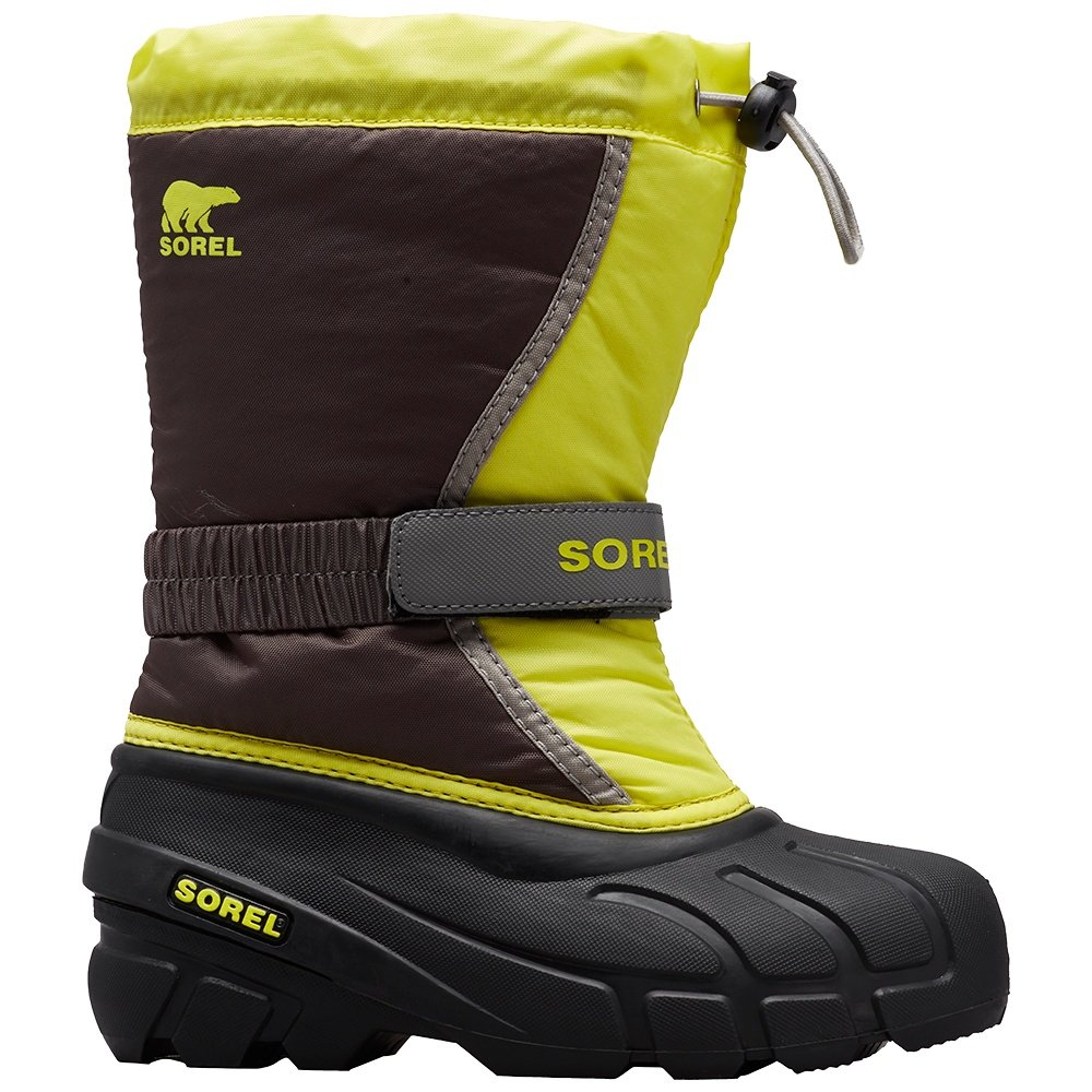 Sorel Flurry Boot (Little Kids')  - Dark Grey/Warning Yellow