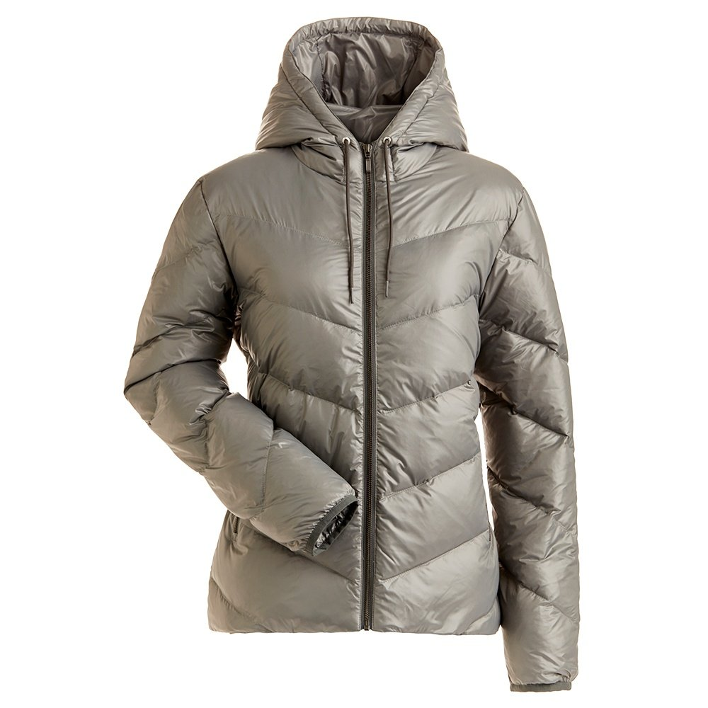 Nils Jayden Short Down Coat (Women's) - Pewter Heather/White