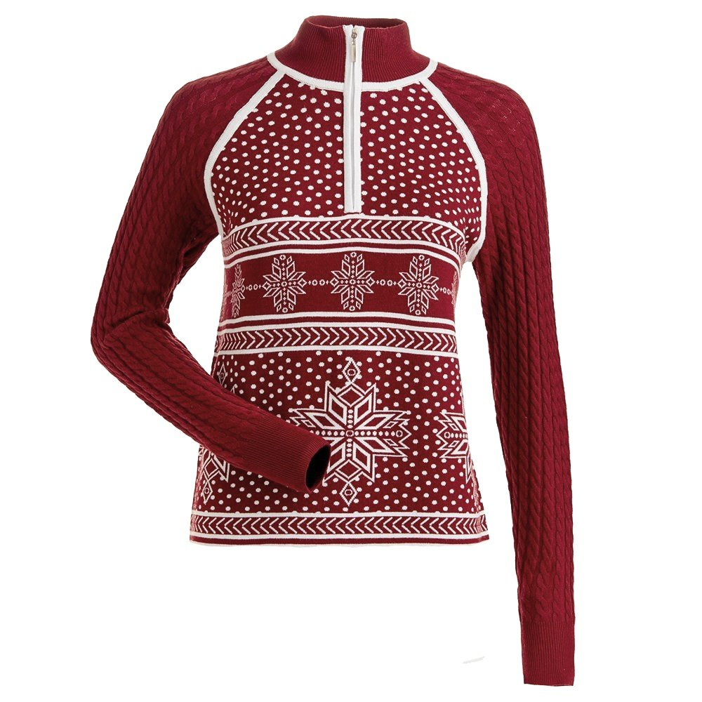 Nils Ingrid 1/4-Zip Sweater (Women's) - Ruby/White
