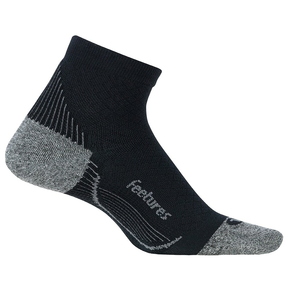 Feetures Plantar Fasciitis Relief Cushion Quarter Running Sock (Men's) - Black