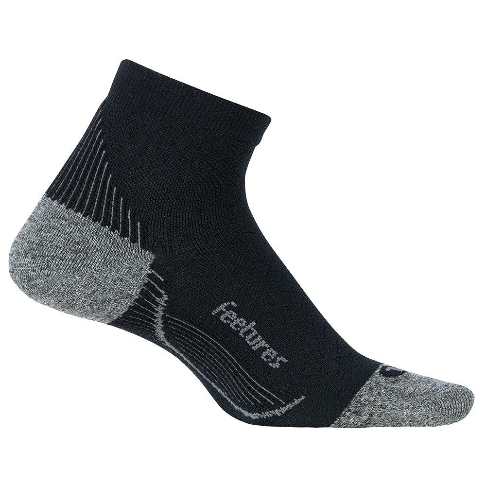 Feetures Plantar Fasciitis Relief Cushion Quarter Running Sock (Men's) - Black