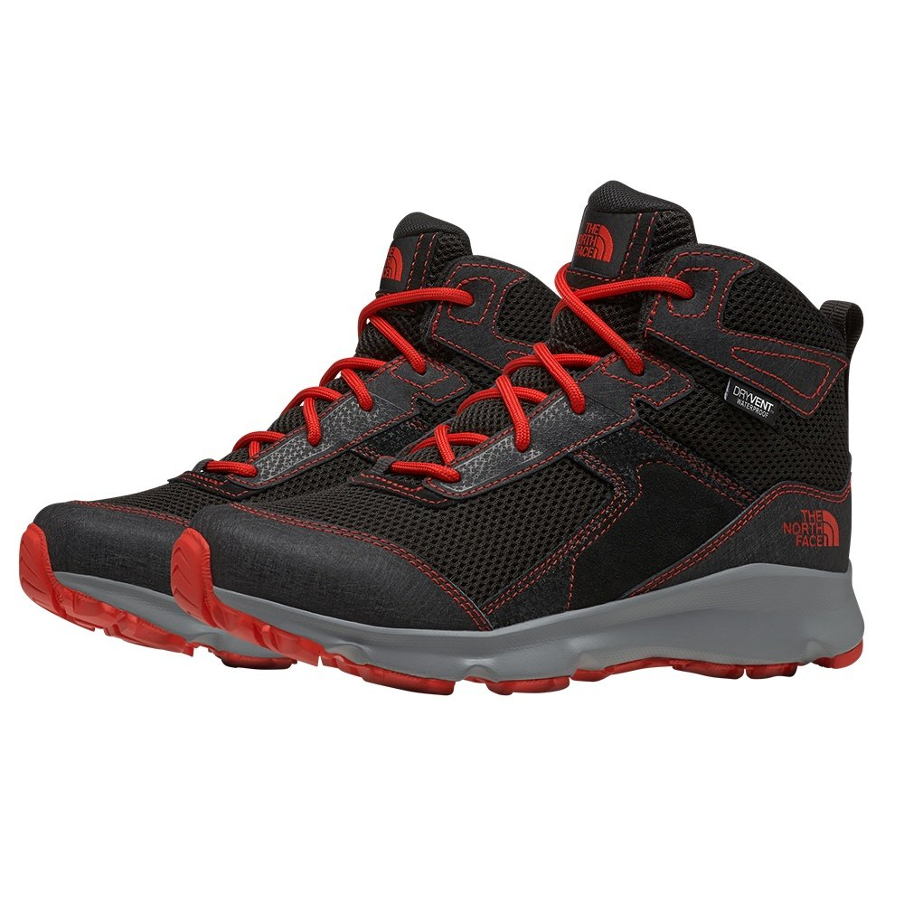 The North Face Hedgehog Hiker II Mid Waterproof Hiking Boot (Kids') - TNF Black/Fiery Red