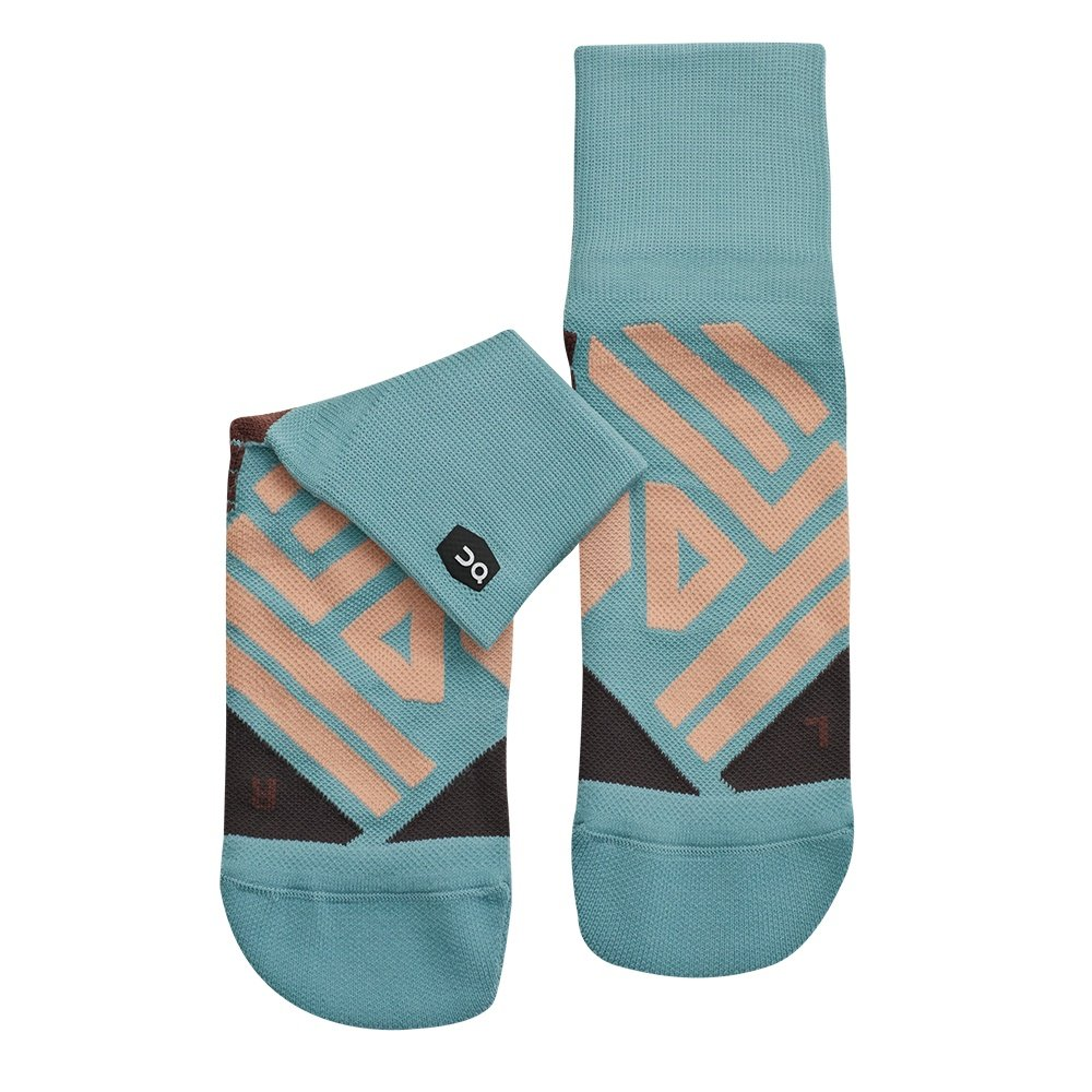 On Mid Running Sock (Women's) - Sea/Rosebrown