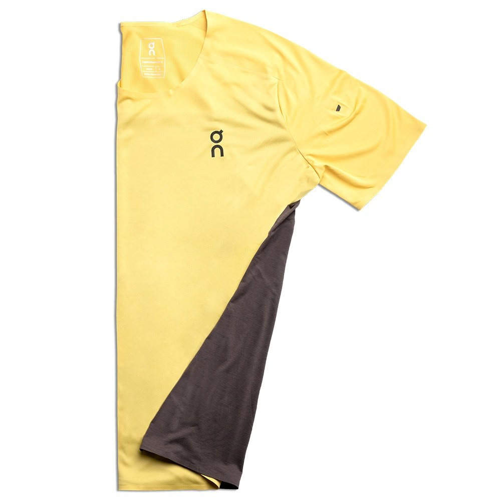 On Performance-T Running Shirt (Men's) - Mustard/Pebble